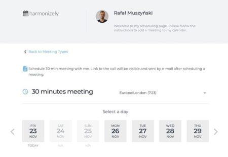 Harmonizely: programmazione facile di appuntamenti evitando lo scambio di e-mail