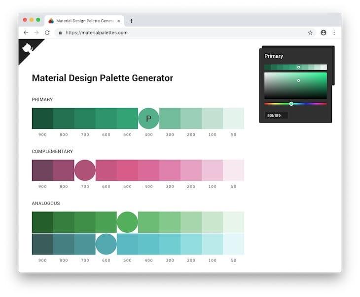 Come generare palette cromatiche Material Design a partire da qualsiasi colore