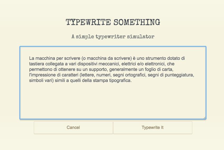 Typewrite Something: simulatore web delle vecchie macchine da scrivere