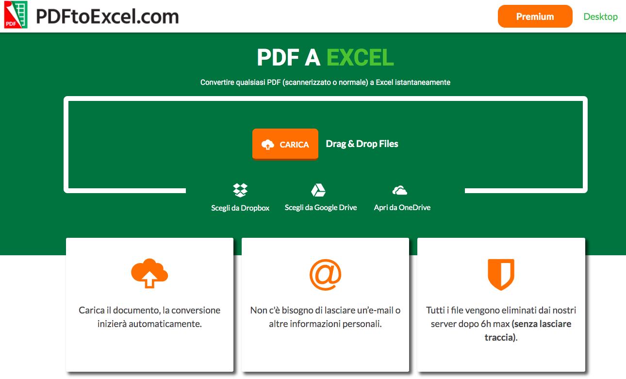 PDFtoExcel: tool gratuito online per passare da PDF a Excel