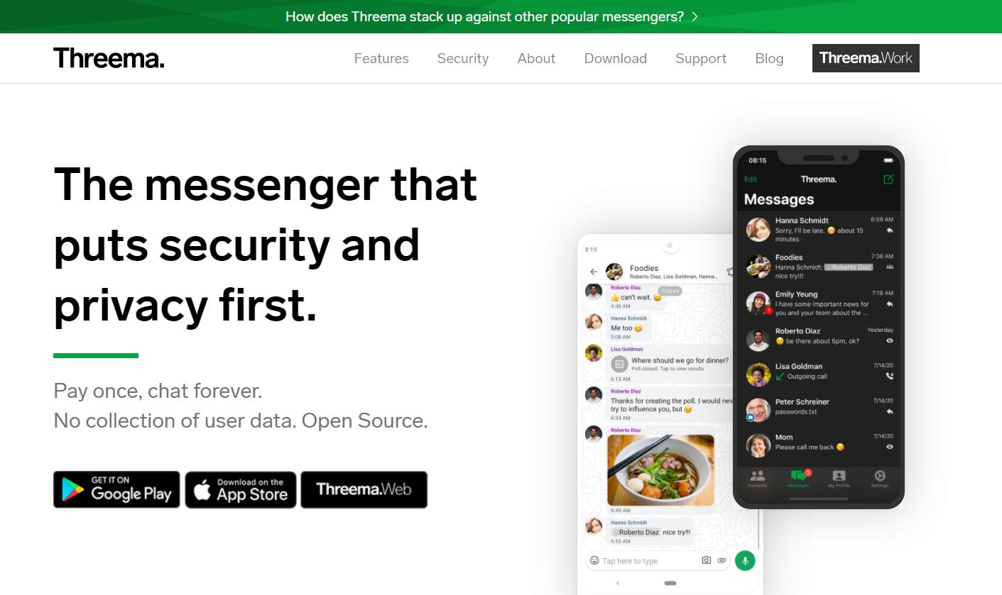 Threema: app di messaggistica sicura che non richiede numero di cellulare né email